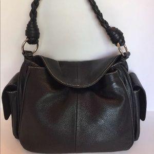 Ralph Lauren Shoulder Bag Black  Silver Leather